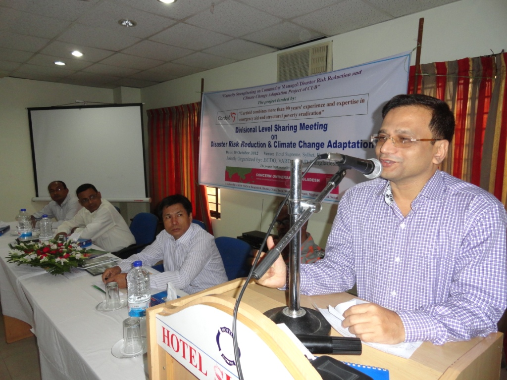 N M Zeaul Alam, Commissioner, Sylhet Division is delivering his speech as Chief guest in Divisional level sharing meeting