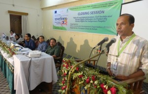 Mr. Saikat Biswas from Oxfam is announcing 'Human Rights Fair-2014 Sylhet declaration' at the end of the fair