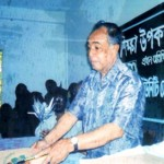 Ex-ECDO adviser and renowned Professor Habibur Rahman is distributing Education Materials among the poor Khasi indigenous students (2005)