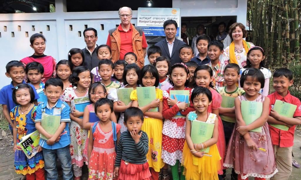Group photo session at Mangalpur Manipuri Language Centre (MLC)